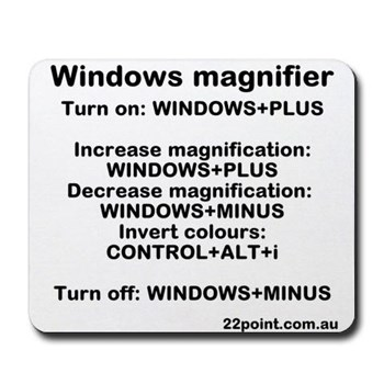 [Windows magnifier commands mousepad]